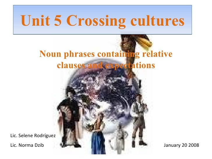 Unit 5 Crossing cultures Noun phrases containing relative clauses and expectations Lic. Selene Rodríguez Lic. Norma Dzib  ...