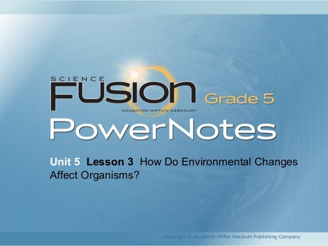 Unit 5 Lesson 3 How Do Environmental Changes Affect Organisms? Copyright © Houghton Mifflin Harcourt Publishing Company