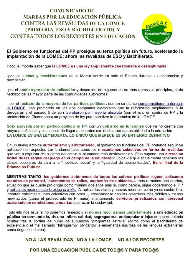 COMUNICADO DE MAREAS POR LA EDUCACIÓN PÚBLICA CONTRA LAS REVÁLIDAS DE LA LOMCE (PRIMARIA, ESO Y BACHILLERATO) Y CONTRA TOD...