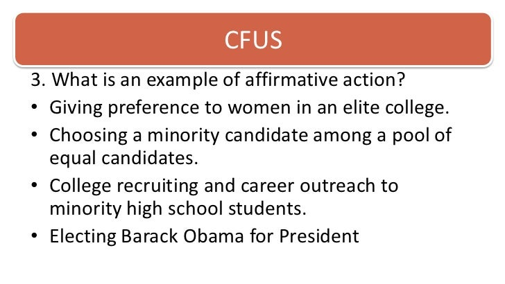 essays on affirmative action Here we go again the recent news that the trump administration may use the us justice department's front office to investigate the use of affirmative action in colleges and universities demonstrates the challenge of clear and accurate communication regarding this hot-button subject.