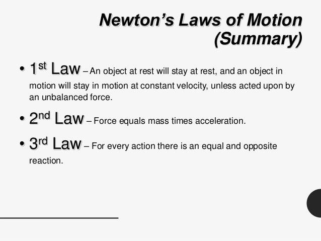 Unit 6, Lesson 5 - Newton's Laws of Motion