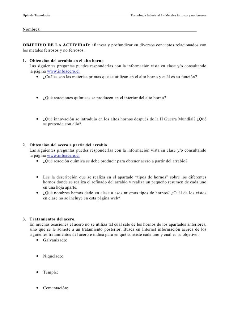 Dpto de Tecnología                                          Tecnología Industrial I – Metales ferrosos y no ferrosos    No...