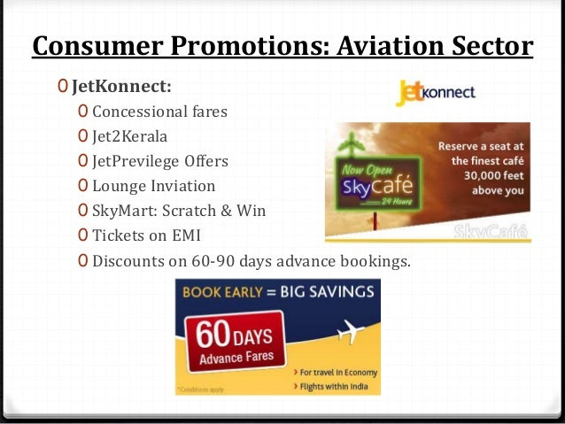 Consumer Promotions: Aviation Sector 0 Air India: 0 Gift coupons 0 Jaldi-Jaldi compaign 0 Companion schemes
