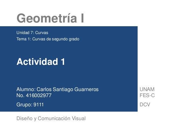 Geometría I Unidad 7: Curvas Tema 1: Curvas de segundo grado Actividad 1 Alumno: Carlos Santiago Guarneros No. 416002977 G...