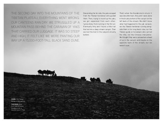 COVER: The Tibetan Plateau in Central Asia THIS PAGE: Peter Stark and his fellow travelers cross a mountain pass in Tibet ...