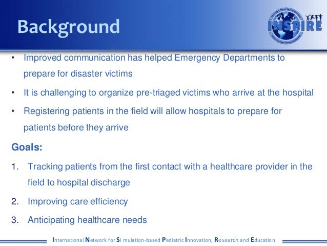 • Improved communication has helped Emergency Departments to prepare for disaster victims • It is challenging to organize ...