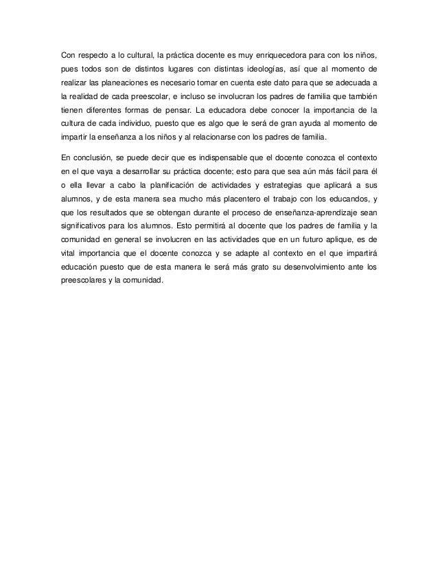 ANÁLISIS REFLEXIVO: LA IMPORTANCIA DEL CONTEXTO EN EL TRABAJO DOCENTE Slide 3