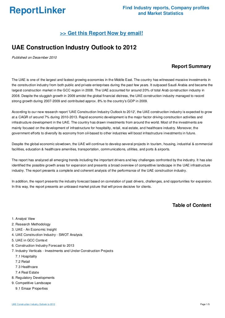 UAE Construction Industry Outlook to 2012