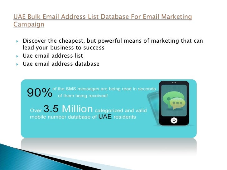 Uae bulk email address list database for email marketing campaign