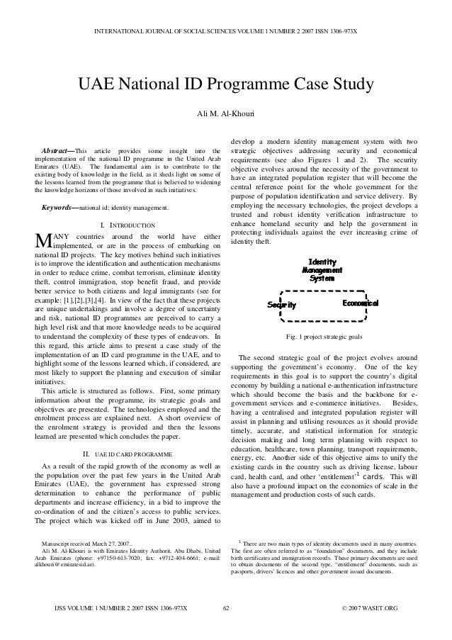 INTERNATIONAL JOURNAL OF SOCIAL SCIENCES VOLUME 1 NUMBER 2 2007 ISSN 1306-973X                UAE National ID Programme Ca...