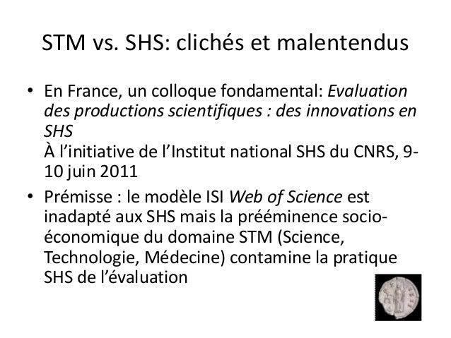 Bibliometrie en SHS : questions de logique et d'ethique Slide 3