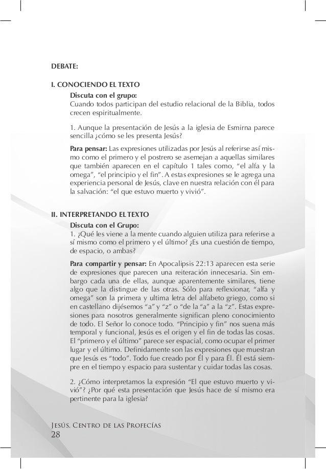 DEBATE:I. CONOCIENDO EL TEXTO     Discuta con el grupo:     Cuando todos participan del estudio relacional de la Biblia, t...