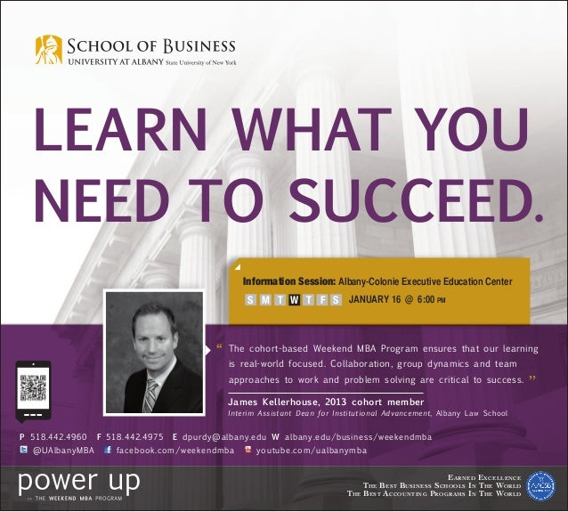 Learn what you  NEED TO SUCCEED.                                                Information Session: Albany-Colonie Execut...