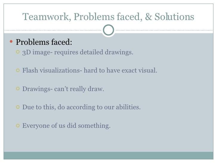 Teamwork, Problems faced, & Solutions <ul><li>Problems faced: </li></ul><ul><ul><li>3D image- requires detailed drawings. ...