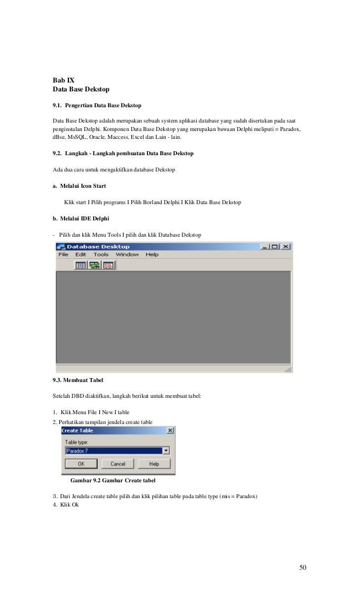 Bab IXData Base Dekstop9.1. Pengertian Data Base DekstopData Base Dekstop adalah merupakan sebuah system aplikasi database...