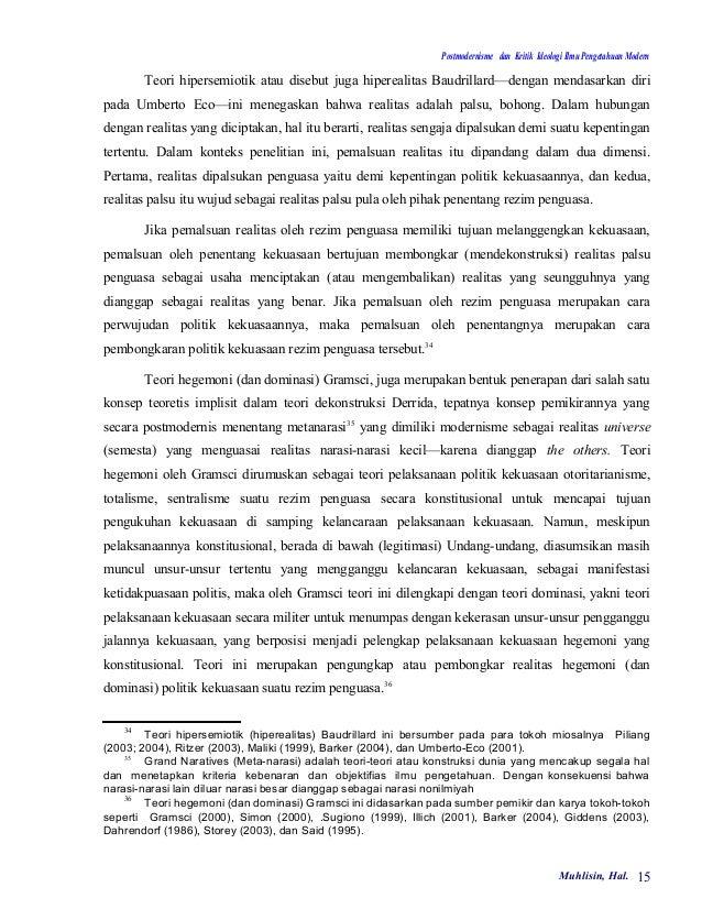 Postmodernisme dan Kritik Ideologi Ilmu Pengetahuan Modern        Teori hipersemiotik atau disebut juga hiperealitas Baudr...