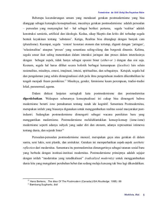 Postmodernisme dan Kritik Ideologi Ilmu Pengetahuan Modern         Beberapa kecenderungan umum yang mendasari gerakan post...