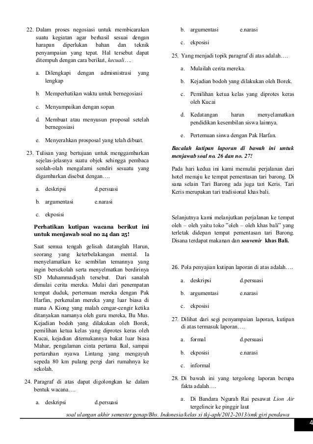 Soal Uas Bahasa Indonesia Smk Kelas Xi Smt Ii