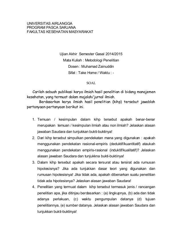 UNIVERSITAS AIRLANGGA PROGRAM PASCA SARJANA FAKULTAS KESEHATAN MASYARAKAT Ujian Akhir Semester Gasal 2014/2015 Mata Kuliah...