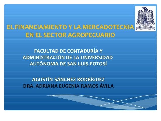 EL FINANCIAMIENTO Y LA MERCADOTECNIA      EN EL SECTOR AGROPECUARIO       FACULTAD DE CONTADURÍA Y    ADMINISTRACIÓN DE LA...