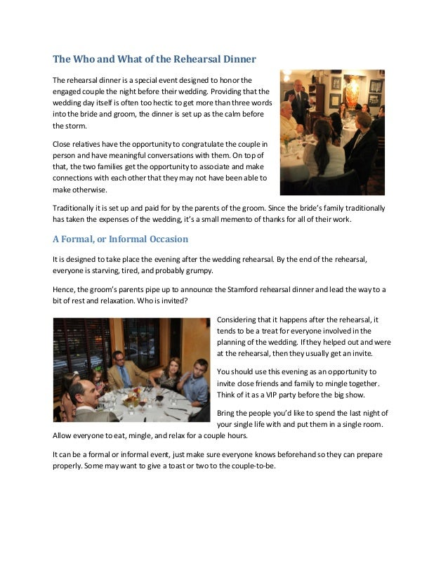 The Who And What Of The Rehearsal Dinner
