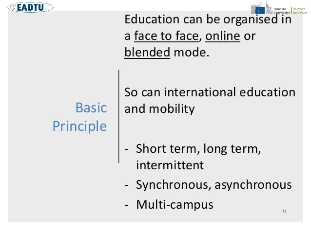 Basic Principle Education can be organised in a face to face, online or blended mode. So can international education and m...