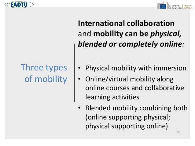 Three types of mobility International collaboration and mobility can be physical, blended or completely online: • Physical...