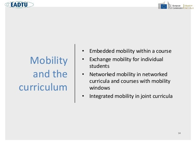 Mobility and the curriculum • Embedded mobility within a course • Exchange mobility for individual students • Networked mo...
