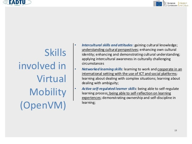 Skills involved in Virtual Mobility (OpenVM) • Intercultural skills and attitudes: gaining cultural knowledge; understandi...