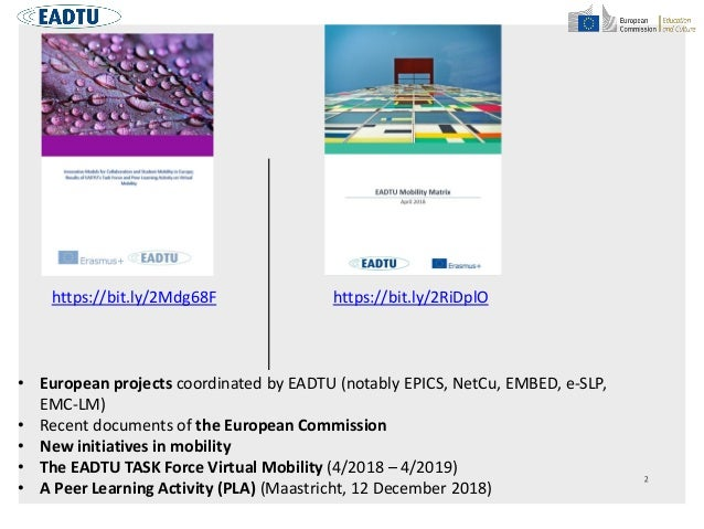 • European projects coordinated by EADTU (notably EPICS, NetCu, EMBED, e-SLP, EMC-LM) • Recent documents of the European C...