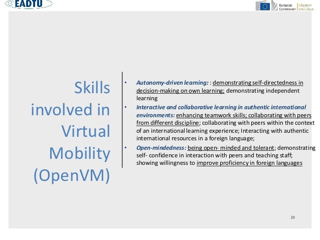 Skills involved in Virtual Mobility (OpenVM) • Autonomy-driven learning: : demonstrating self-directedness in decision-mak...