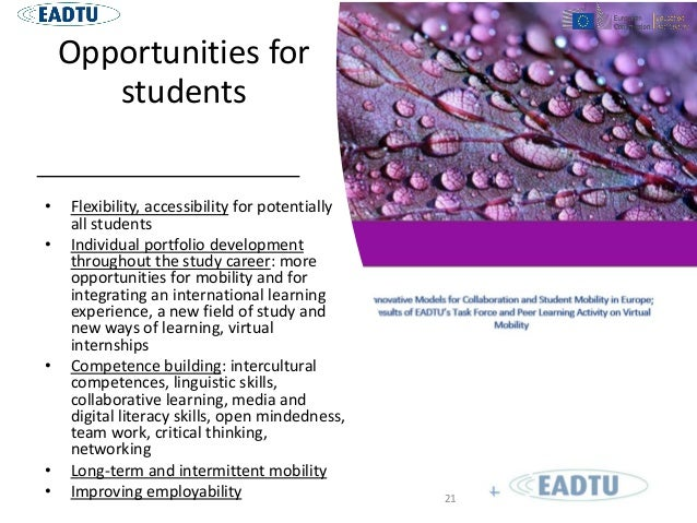 Opportunities for students • Flexibility, accessibility for potentially all students • Individual portfolio development th...