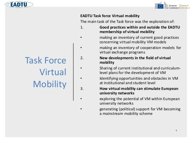 Task Force Virtual Mobility EADTU Task force Virtual mobility The main task of the Task force was the exploration of: 1. G...