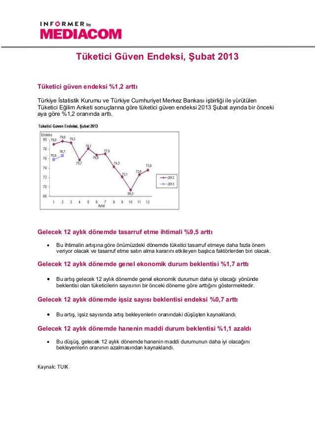 Tüketici Güven Endeksi, Şubat 2013Tüketici güven endeksi %1,2 arttıTürkiye İstatistik Kurumu ve Türkiye Cumhuriyet Merkez ...