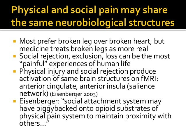  Sensitivity to physical and social pain linked  Same people  Experiments show persons more sensitive to physical noxio...