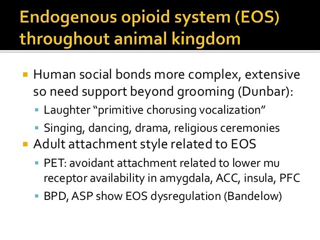  In humans, EOS supports social play which fosters social bonding and social, cognitive, emotional development and pain t...