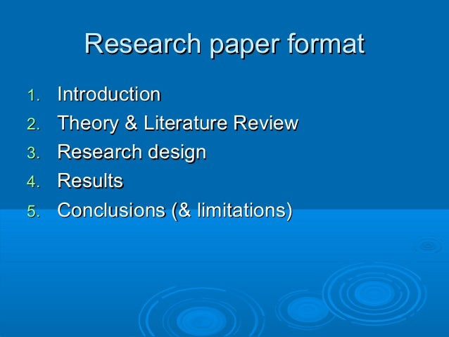 research papers format
