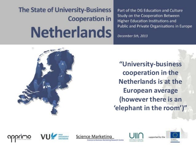 """""""University-business cooperation in the Netherlands is at the European average (however there is an 'elephant in the room'..."""