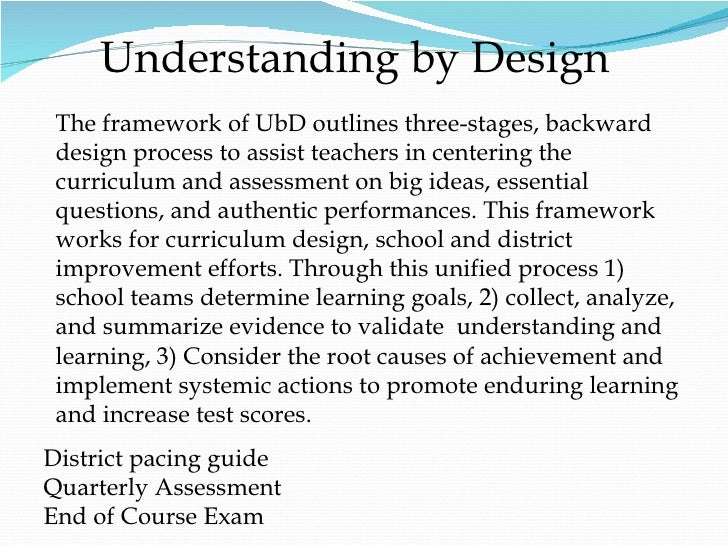 Understanding by Design District pacing guide Quarterly Assessment End of Course Exam The framework of UbD outlines three-...
