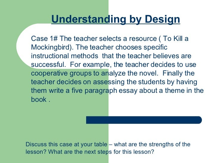 Understanding by Design Case 1# The teacher selects a resource ( To Kill a Mockingbird). The teacher chooses specific inst...