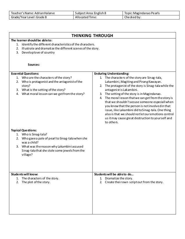 Ubd Sample Lesson Plans