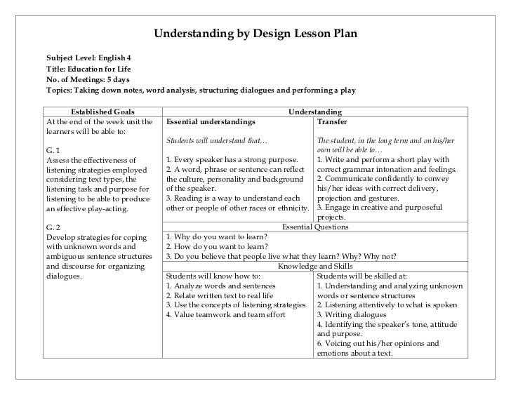 Understanding by design lesson plan - Backwards design lesson plan examples ...
