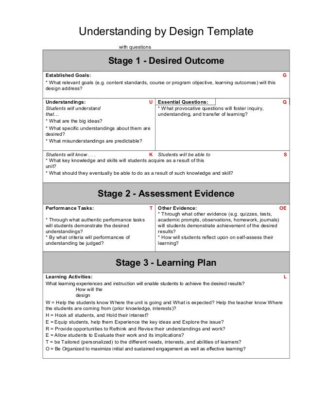 Ubd Template - Understanding by design lesson plan template