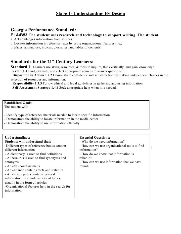 Stage 1- Understanding By Design       Georgia Performance Standard:     ELA4W3 The student uses research and technology t...