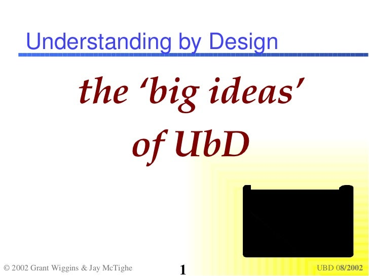 Understanding by Design the 'big ideas' of UbD