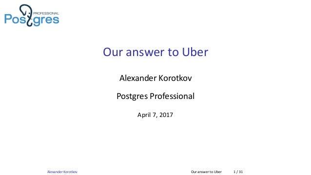 Our answer to Uber Alexander Korotkov Postgres Professional April 7, 2017 Alexander Korotkov Our answer to Uber 1 / 31