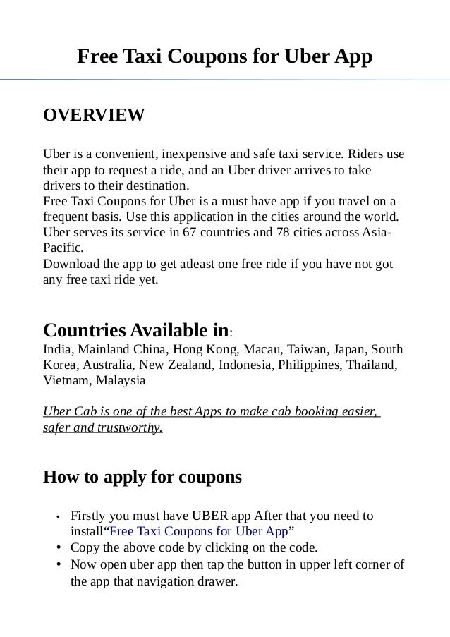 Free Taxi Coupons for Uber App PDF
