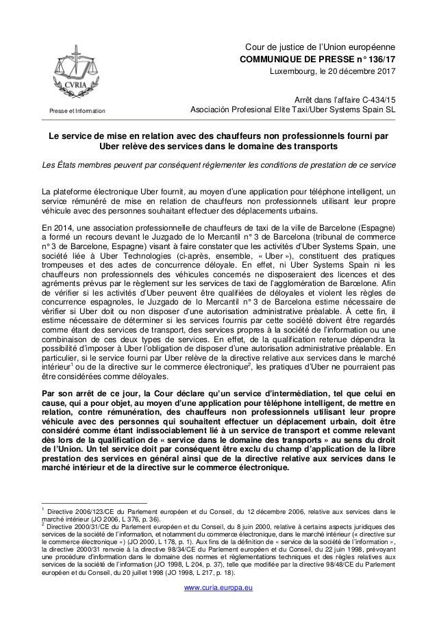 www.curia.europa.eu Presse et Information Cour de justice de l'Union européenne COMMUNIQUE DE PRESSE n° 136/17 Luxembourg,...