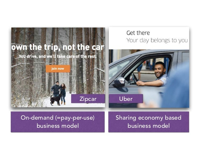 Zipcar Uber On-demand (=pay-per-use) business model Sharing economy based business model