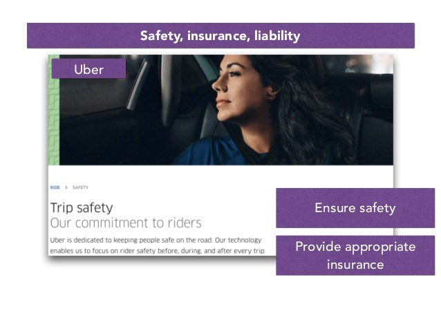 Safety, insurance, liability Ensure safety Provide appropriate insurance Uber